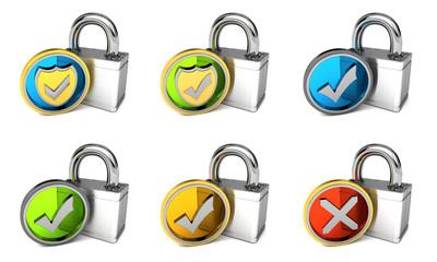 versch. geprüfte Sicherheit Icons