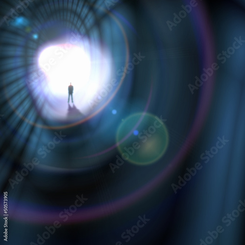 Silhouette of businessman in tunnel