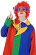 Clown zeigt nach oben