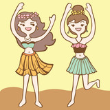 Girls Dancing Hula