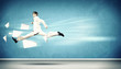 Image of running businessman
