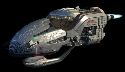 3D model of futuristic space ship in deep space travel