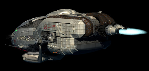 Futuristic 3D spaceship in deep space travel