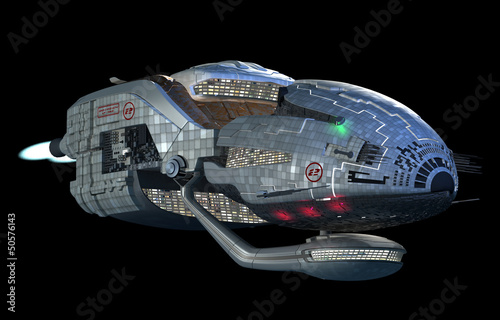 Fantasy 3D model of futuristic space ship in deep space travel