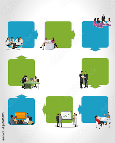 Template with business people on work process