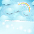 Sky background with rainbow