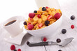 bowl of corn flakes with berries fruits