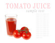 glass of tomato juice with tomatoes isolated on white