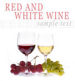 Glass of red and white wine with grapes isolated on white