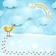 Sky background with bird