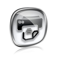 printer icon grey glass, isolated on white background.