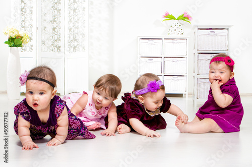 Girls group in festive dresses