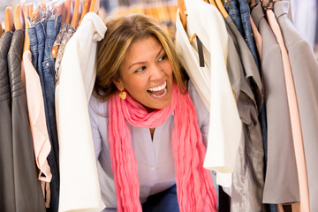 Excited shopping woman