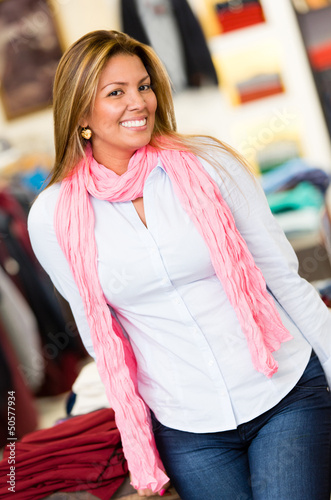 Shopping woman at a clothing store