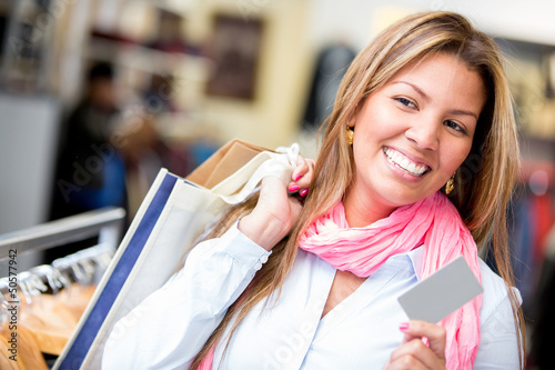 Female shopper with credit card