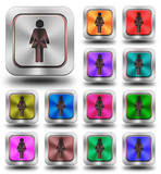 Women aluminum glossy icons, crazy colors