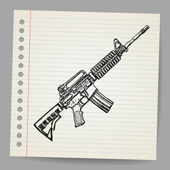 M16 Doodle Vector illustration.