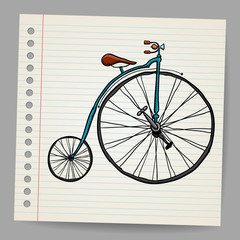 Doodle old bicycle vector illustration