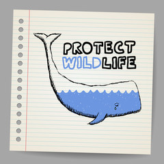 Doodle protect wildlife sign with whale. Vector illustration