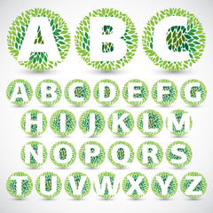 Green Leaves font. Vector illustration.