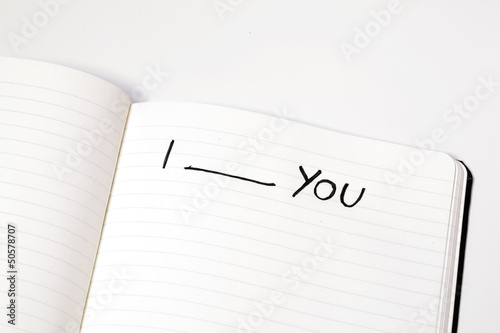 Notebook with words i love you, express emotions, isolated