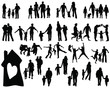 Silhouettes of families-vector