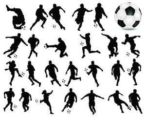 Silhouettes of football players -vector