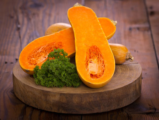 Butternut squash on the wooden table