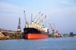 Cargo ship in port of Gdansk, Poland.