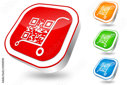 QR-code, vector button set, color
