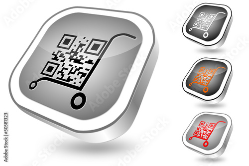 QR-code, vector button set 2, chrome