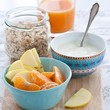 Healthy breakfast with muesli, yogurt and fruits