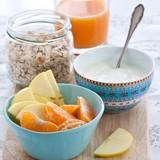 Healthy breakfast with muesli, yogurt and fruits
