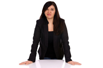 Business woman based on a table