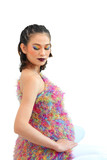 isolate with path portrait of pregnant woman in colorfull make u
