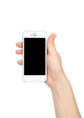 Mobile cell phone in hand with blank black screen