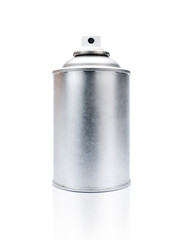 blank aluminum spray can on white background