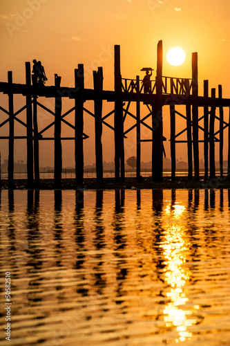 Sunset at the U Bein Bridge near Mandalay, Myanmar