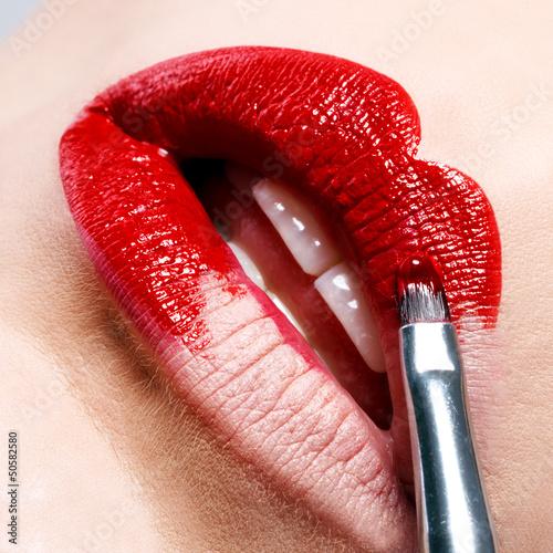 Fototapeten,lippen,rot,lippenstift,mund