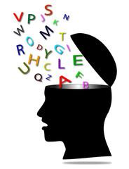 testa maschile stilizzata che rappresenta la comunicazione