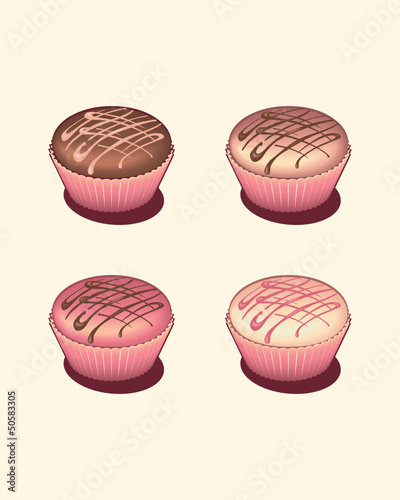 Four tasty cupcakes isolated