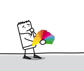 Personnage qui choisit parmi des nuances de couleur - déco