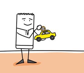 Personnage qui économise pour acheter une voiture