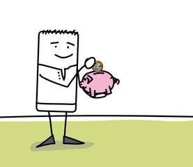 Personnage qui économise dans une tirelire cochon