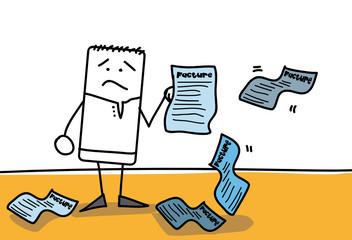 Personnage qui est submergé de factures