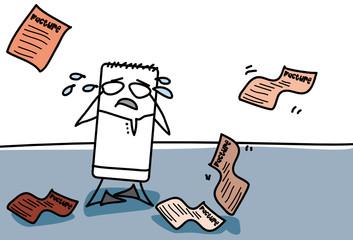 Personnage qui endetté qui pleure