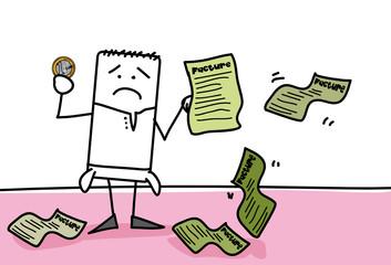 Personnage qui est endetté avec 1 euro en poche