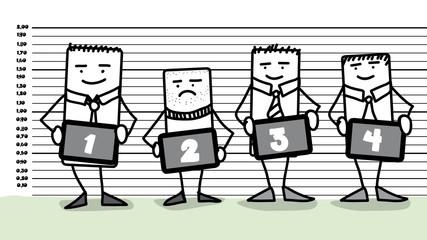 Personnages en train de se faire identifier dans un commissariat