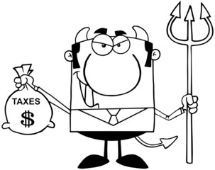 Outlined Smiling Devil With A Trident And Holding Taxes Bag