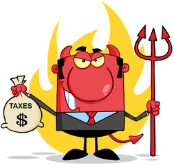 Smiling Devil With A Trident And Holding Taxes Bag